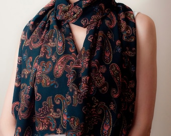 Blaugrün blauen Schal Paisley Print klassische Tube Schal Türkis Wrap übergroßen Schal Schal Wrap Unisex Damen Herren Mode-Accessoires