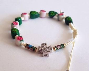 PCRB018023 / Knotted Catholic Rosary Bracelet/  Luminous Rosary Bracelet/ Handmade Beads Rosary * Baptism * First Communion *Religious Gift