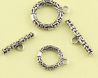 925 sterling silver Bali Toggle Clasps, Large Toggle Clasp, Nickel Free, Lead Free, 2 size