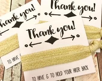 Hair Tie Bridesmaid Gift // Floral Hair Tie Bracelets, Gold Silver Hair Tie, Bridesmaid Gift, Bachelorette Hair Tie Favors