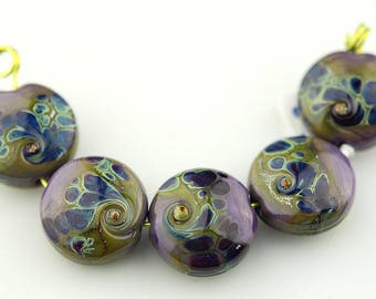 purple lampwork beads glass beads organic beads sra Lara Lutrick