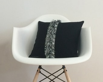 Modern Macrame Fringe Pillow Cover with Hand Knotted Tassel Accents by JillianReneDecor - Mod Home Decor - Boho - Black and Cream