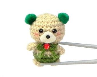 Green pom pom ears BBQ MochiQtie - Crochet amigurumi Mochi size mini toy doll
