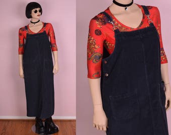 90s Blue Corduroy Overall Dress/ Large/ 1990s/ Jumper