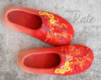 CUSTOM MADE Wool shoes/ felted home slippers model KATE, any color and size