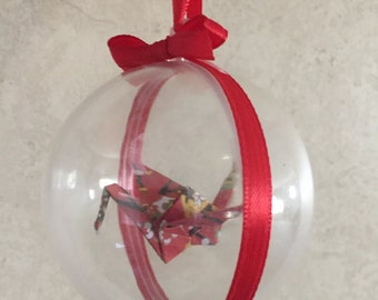 Origami Crane Christmas Ball Ornament