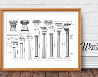 ARCHITECTURE PRINT - Antique Architectural Drawing, Architectural Columns, Office Decor, Gift for Architect, Interior Design, Greek Art