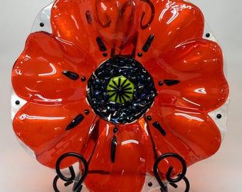 Fused Glass Bowl – Orange Poppy Bowl