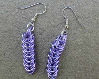 Chain Maille Earrings, Purple Earrings, Lavender Purple Box Chain Earrings, Jump Ring Jewelry