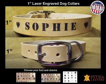 Hand made Leather Dog Collars - Laser Engraved Name - Large  Dog Collar Personalized - Natural Leather Custom Dog Collars made in USA