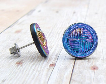 Blue - vintage glass button stud earrings