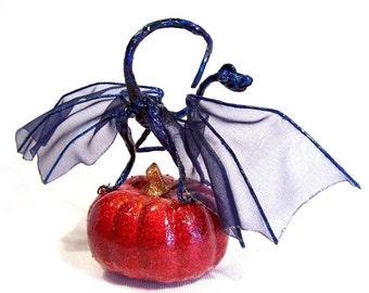Blue Fairy Dragon: Midnight and the Pumpkin, Fantasy Halloween Art Doll