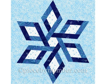 Camilla Star paper pieced quilt block, 6 variations of square and hexagon format, celtic knot,