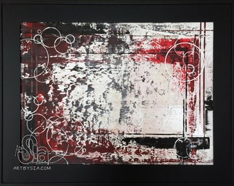Original Abstract Painting - FRAMED & MATTED