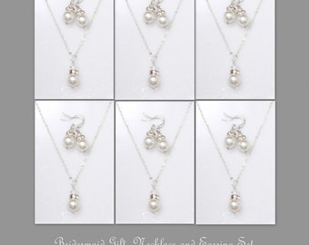 Set of 7 Bridesmaid Gift,  Bridesmaid Jewelry Set, 7 Swarovski White Pearl Necklace and Earring Sets, Bridesmaid Gift Set