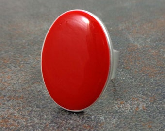 Statement Ring, Red, Silver, Oval Ring, Cocktail Ring, Rings for Women, Adjustable, Resin Ring, Statement Jewelry, Big Ring, Red Ring
