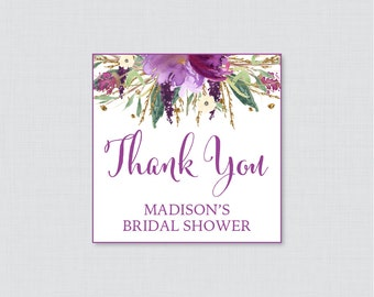 Purple Floral Bridal Shower Favor Tags Printable - Purple and Gold Garden Bridal Shower Favor Tags, Thank You Tags - Flower Favor Tag 0008