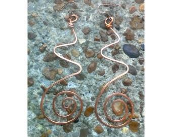 Large copper earrings