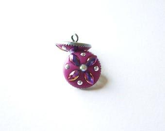 1 fuchsia gypsy Bohemian rhinestone button and demi-perle - 15 mm