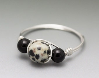 Dalmatian Jasper & Black Onyx Sterling Silver Wire Wrapped Gemstone Bead Ring - Made to Order, Ships Fast!