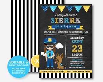 Instant Download, Editable Police Birthday Invitation, Police Girl Invitation, Police Invitation, Police Dog Invitation, Chalkboard(CKB.527)