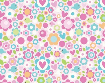 Riley Blake Designs Sweet Home Pink Hearts and Flowers by Mellie & Me C3731