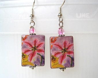 Sale. Artistic Pink Lilies on Mother of Pearl Shell Earrings. Handmade.