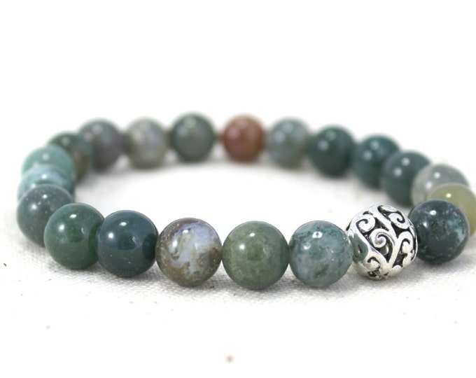 Featured listing image: Fancy Jasper and Silver Plated Filigree Bead Stretch Bracelet / Gifts under 25