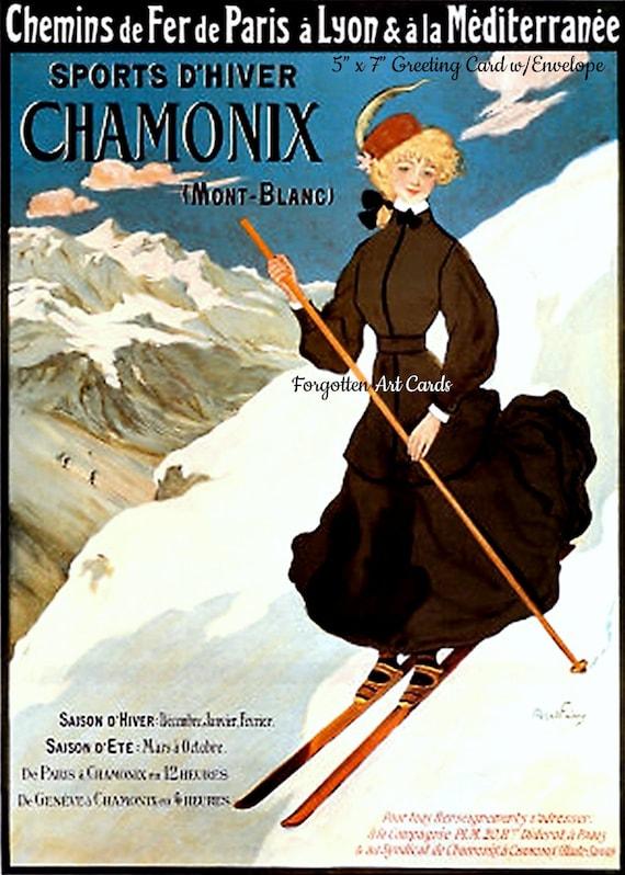 "Chamonix, Travel Poster, 5""x7"" Greeting Card, + Envelope, Skiing, Art Nouveau, Skis, Snow, France, Forgotten Art Card, Pretty Girl Postcards"