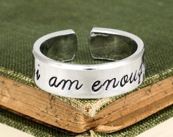 I Am Enough Ring - Script Font