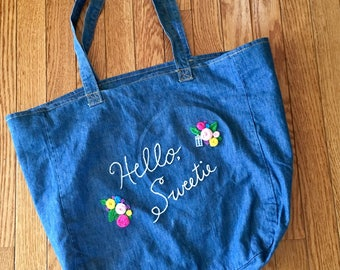 """Doctor Who Inspired """"Hello Sweetie"""" Denim Tote Bag River Song Quote"""