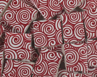 Ceramic Mosaic Tiles - Red Swirls Mosaic Tile Pieces - 40 Pieces Mosaic Art / Mixed Media Art/Jewelry