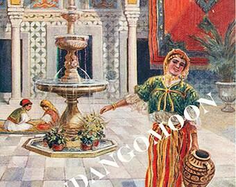 Vintage postcard image Casbah Water Fountain Woman Antique Digital Instant Download Printable