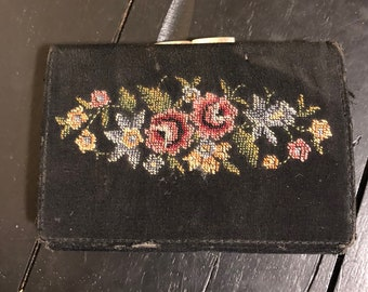 Vintage Needlepoint Lady's Tri-fold Wallet with Change purse