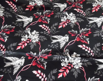 Black Floral and bird Print / Fabric / Fabric by the Yard / Sewing /