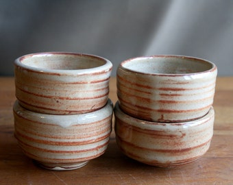 Set of 4 Ceramic Wheel Thrown Sake Cups