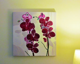 "Floral Painting Flower Painting Orchid Painting Botanical Painting Pink, Red 2' X 2' Original Acrylic Painting ""Orchids"" by Nathalie M. Peña"