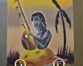 Sand Painting Vintage Man with Instrument