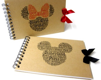 Disney Autograph Book, Mickey or Minnie Mouse, Disney Land or Disneyworld, Word Art, A5