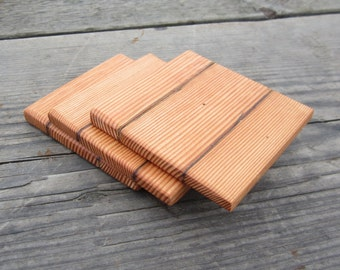 Barnwood Coasters - Reclaimed Wood - 3 Piece Rustic Coaster Set - Home Decor
