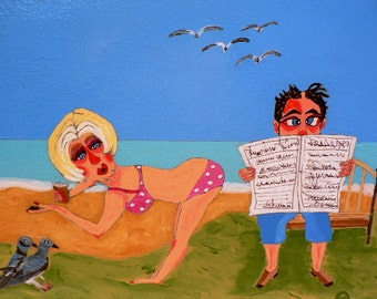 Folk art painting beach ocean couple birds sexy naive fun 11x14 new