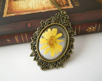 Large real flower pendant, open back pendant, resin botanical jewelry, antique brass necklace, pressed flower in resin, terarrium pendant
