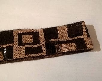 Shiny brown and gold sequins lace