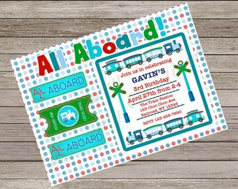 Train birthday party invitation, train party, train party invite, choo choo party, all aboard, choo choo train invitation, train party,