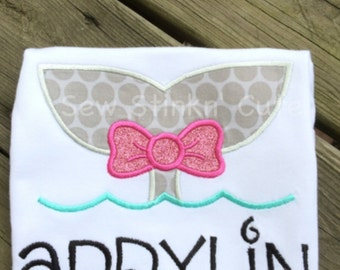 Personalized Appliqued/Embroidered Whale Tail with a Bow Shirt