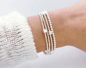 sterling silver single cube beaded bracelet