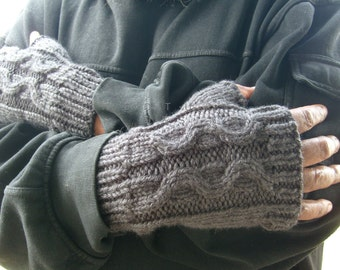 Thick And WARM Cabled Fingerless Gloves For Men - In Charcoal Gray