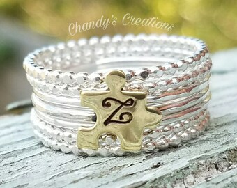 Sterling Silver Stackable Name Rings, Mother's Rings, Autism, Awareness, Stackable, Customized, Name Rings, Puzzle Piece, Gold, Initial