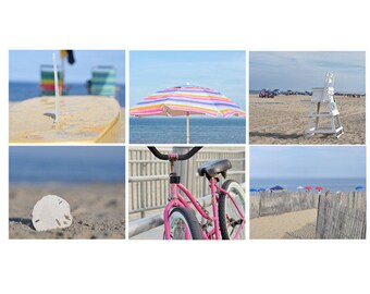 Photography beach print set of 6 11x14, 5x7 bike umbrella ocean gallery wall prints art set, beach bathroom prints pink grey blue wall decor