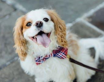 Red White and Blue Americana Plaid Bow Tie Dog Collar, Patriotic Bowtie Dog Collar, Preppy Dog Bow Tie Collar, Fourth of July Dog Collar